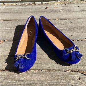 Women's Aldo velvet cobalt blue flats with tassels